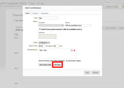 3. Add new presenters - please don't add authors, because indico does not export authors.